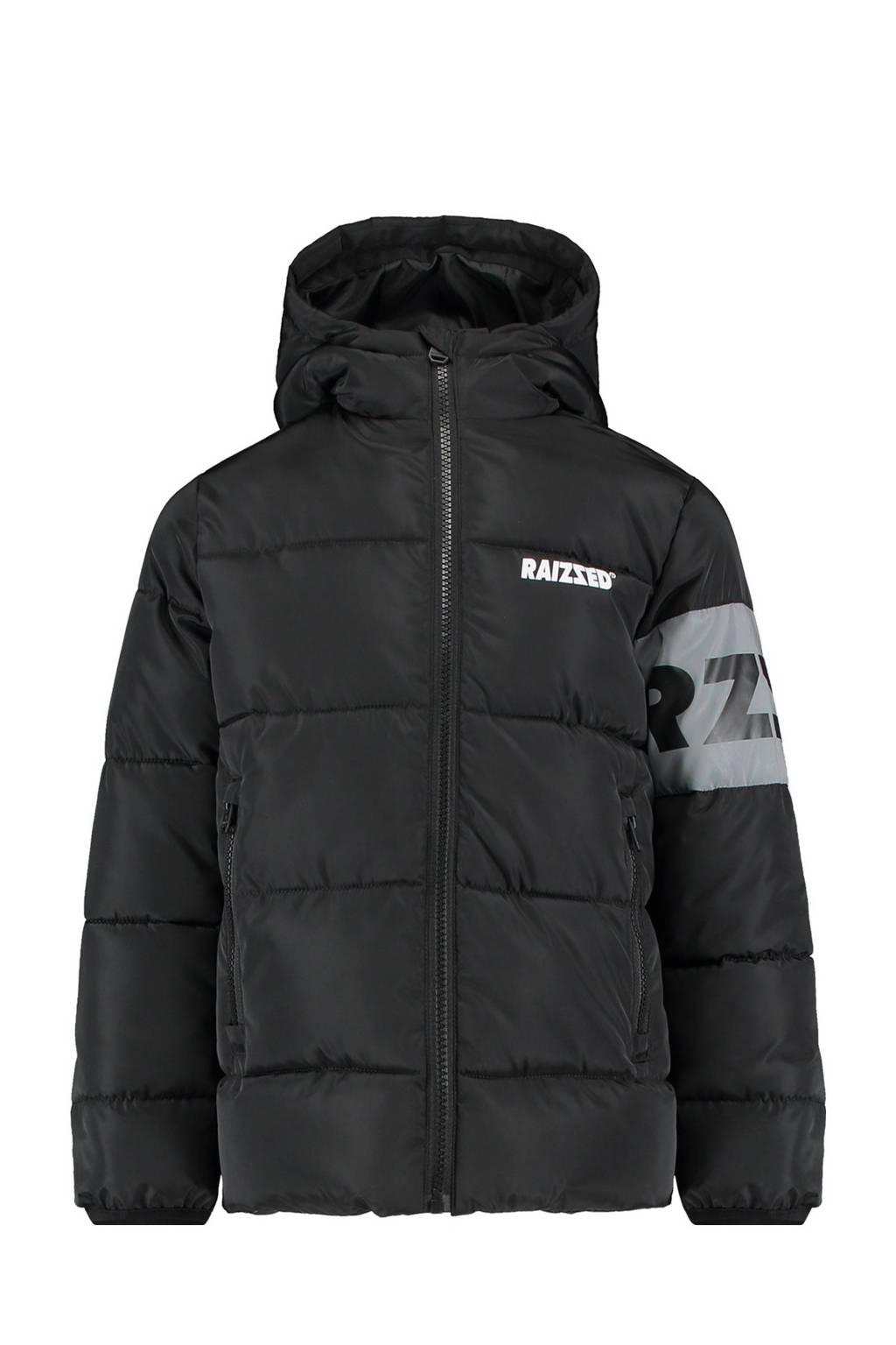 Raizzed  winterjas Tirur met printopdruk zwart, Zwart