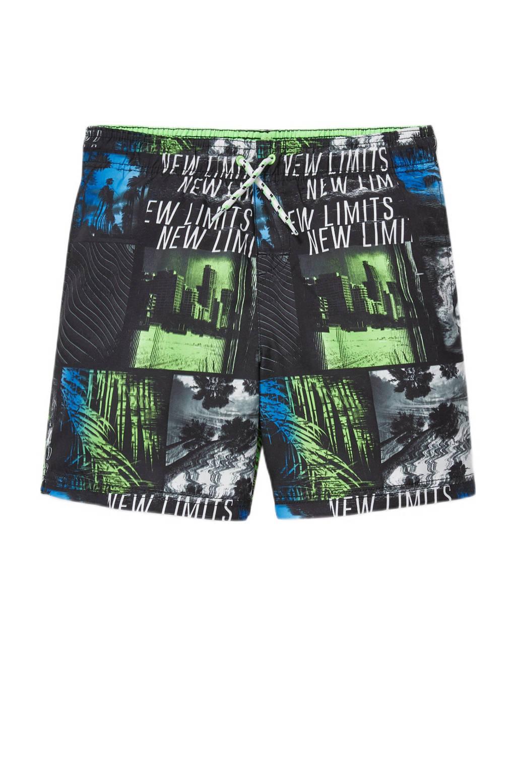 C&A Rodeo zwemshort met all over print zwart/groen/blauw, Zwart
