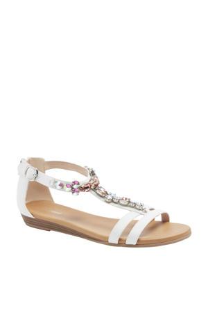 sandalen met sierstenen wit