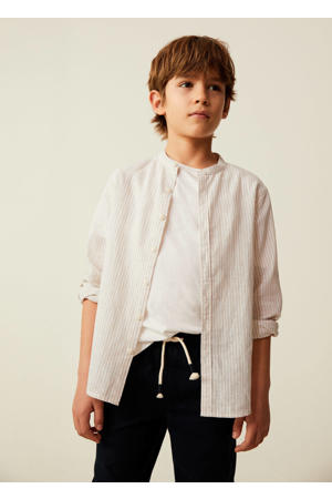 gestreept overhemd lichtbeige