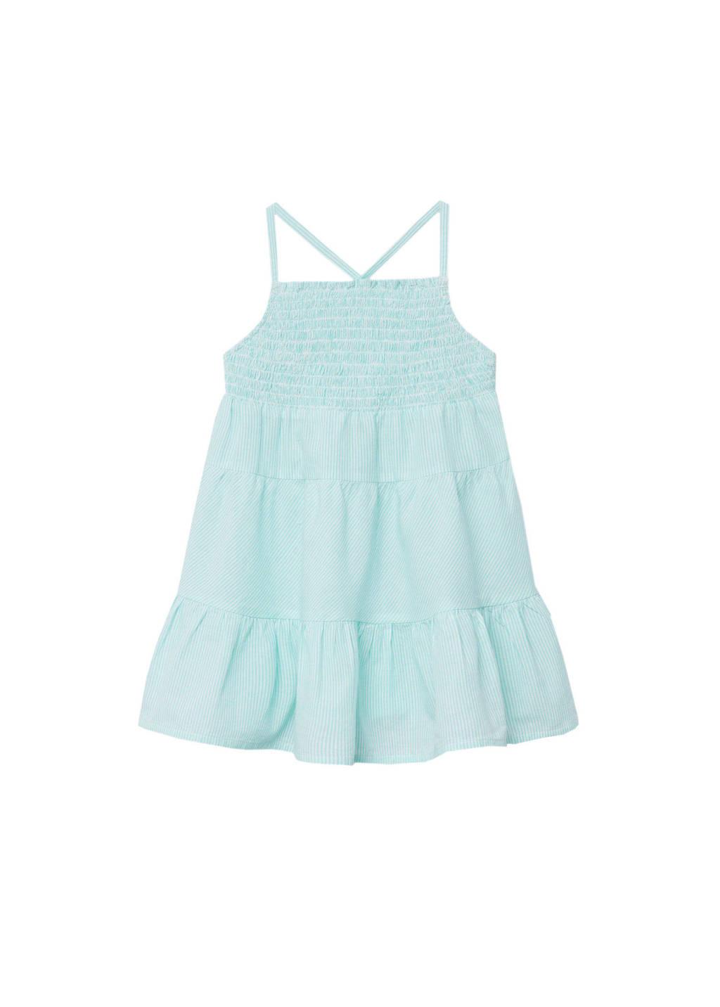 Mango Kids gestreepte jurk mintgroen/wit, Mintgroen/wit