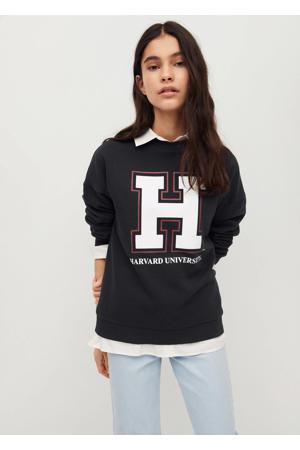 sweater met tekst antraciet/wit