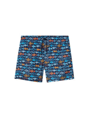 zwemshort met all over print donkerblauw