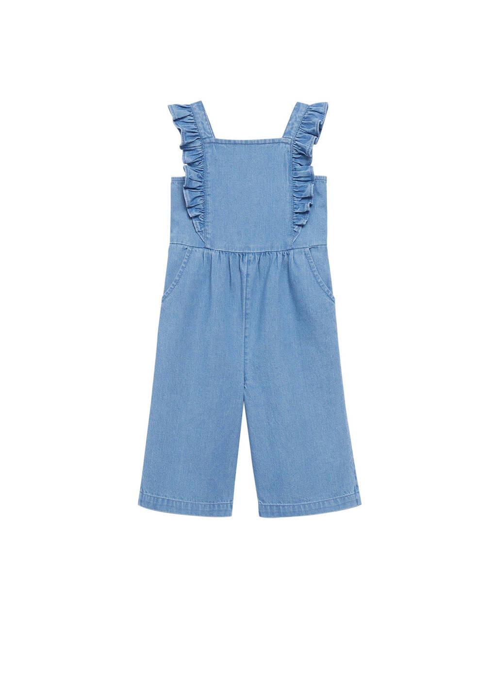 Mango Kids regular fit tuinbroek blauw, Blauw
