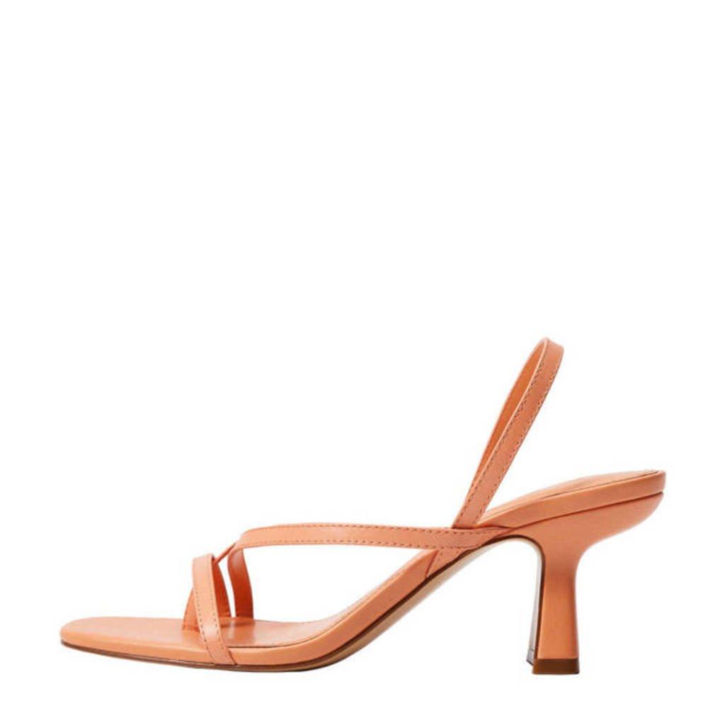 Mango   leren sandalettes zalm, Zalm