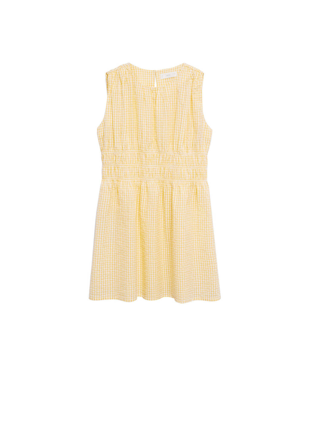 Mango Kids geruite jurk geel/wit, Geel/wit