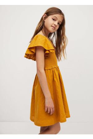 jurk met plooien middengeel