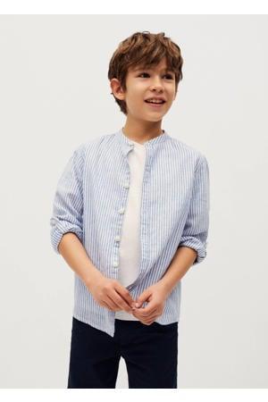 gestreept overhemd middenblauw/wit