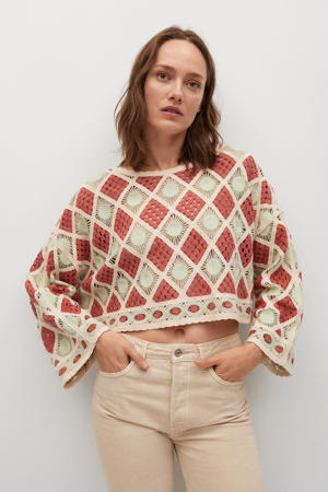 trui rood/groen/ecru