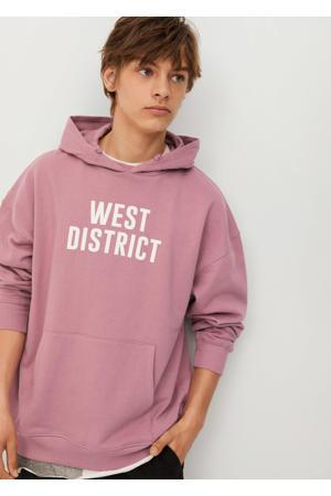 hoodie met tekst roze/wit