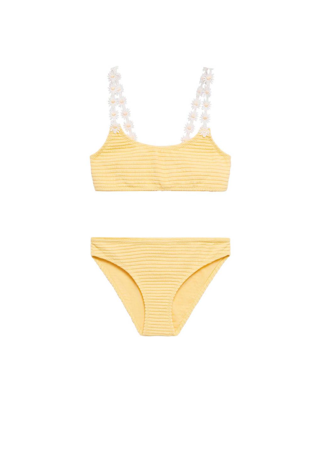 Mango Kids crop bikini met ribstructuur geel, Geel