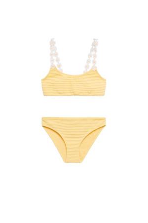 crop bikini met ribstructuur geel