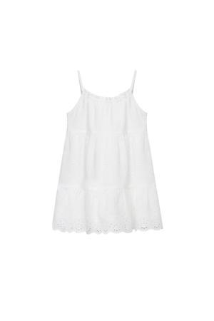 jurk met plooien naturel wit