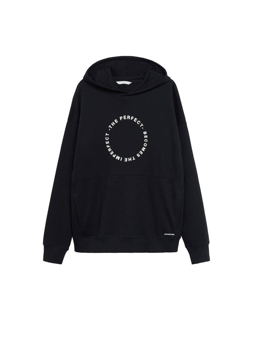 Mango Kids hoodie met tekst zwart/wit, Zwart/wit
