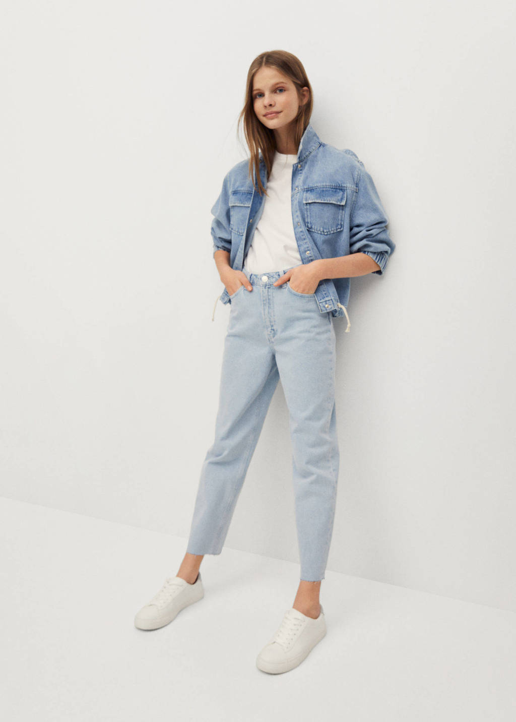 Mango Kids high waist mom jeans blauw, Blauw