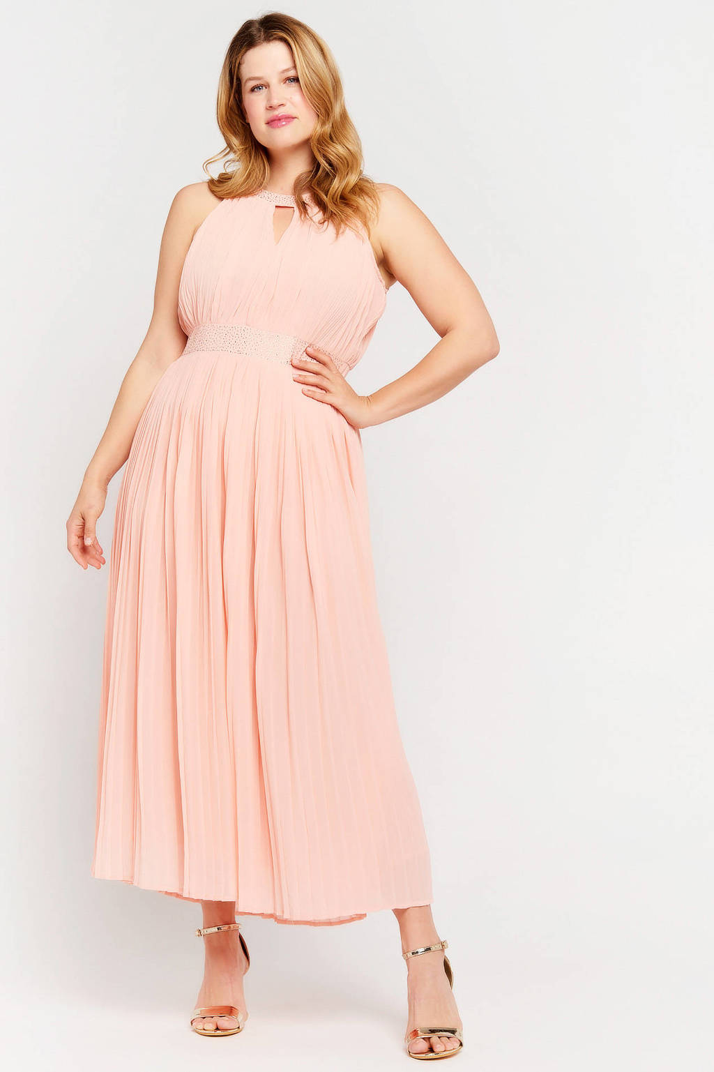 LOLALIZA halter maxi A-lijn jurk R-Victoire met pailletten coral pink, Coral pink