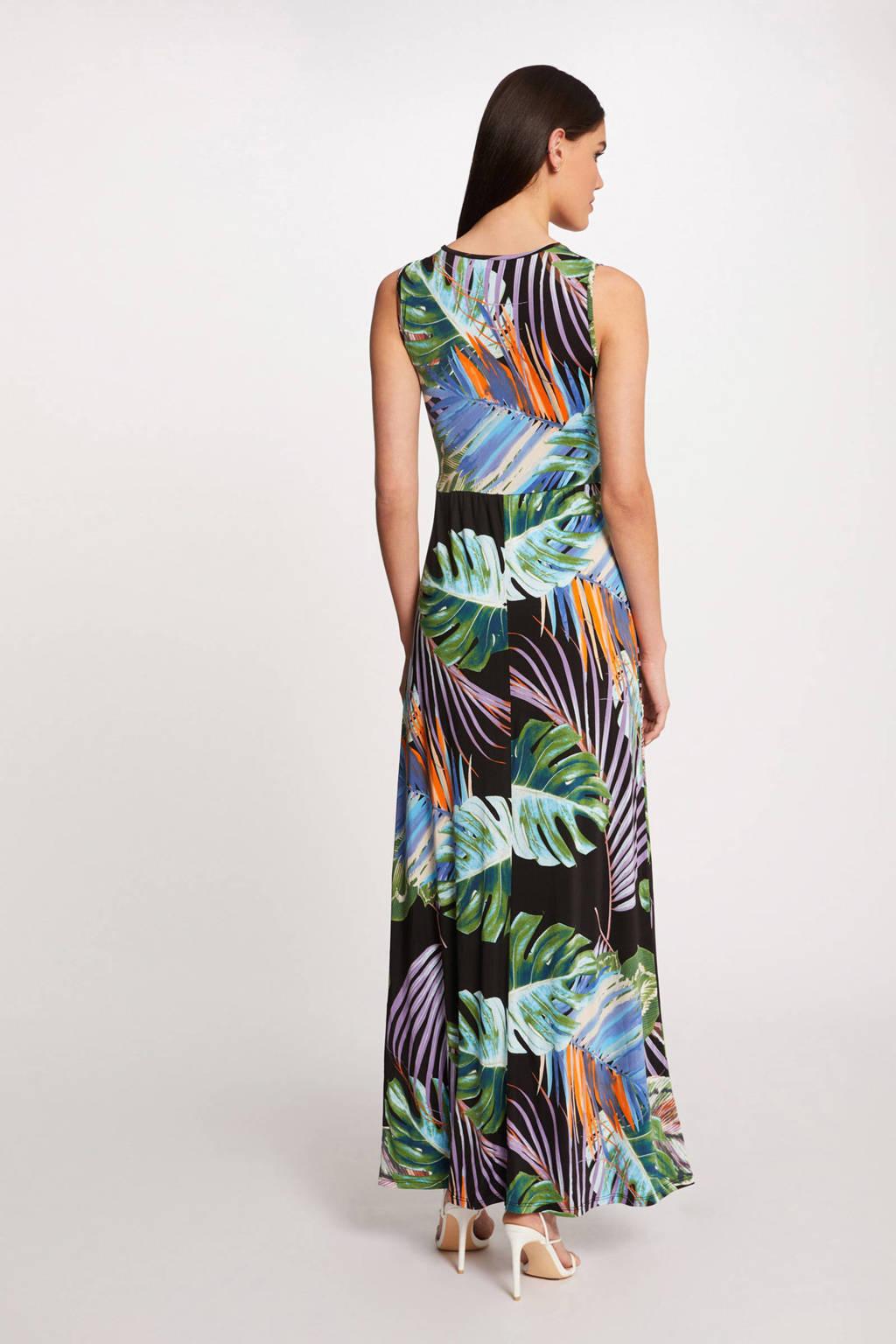Morgan maxi jurk met bladprint zwart, Zwart