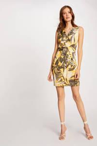Morgan jurk met bladprint en ceintuur geel, Geel