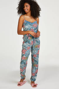 Hunkemöller gebloemde pyjamabroek Dahlia blauw/roze, Blauw/roze