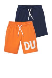 C&A korte broek - set van 2 met print oranje/donkerblauw, Oranje/donkerblauw