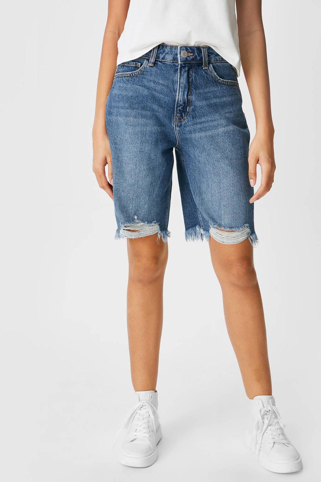 C&A Clockhouse high waist straight fit jeans short blauw, Blauw