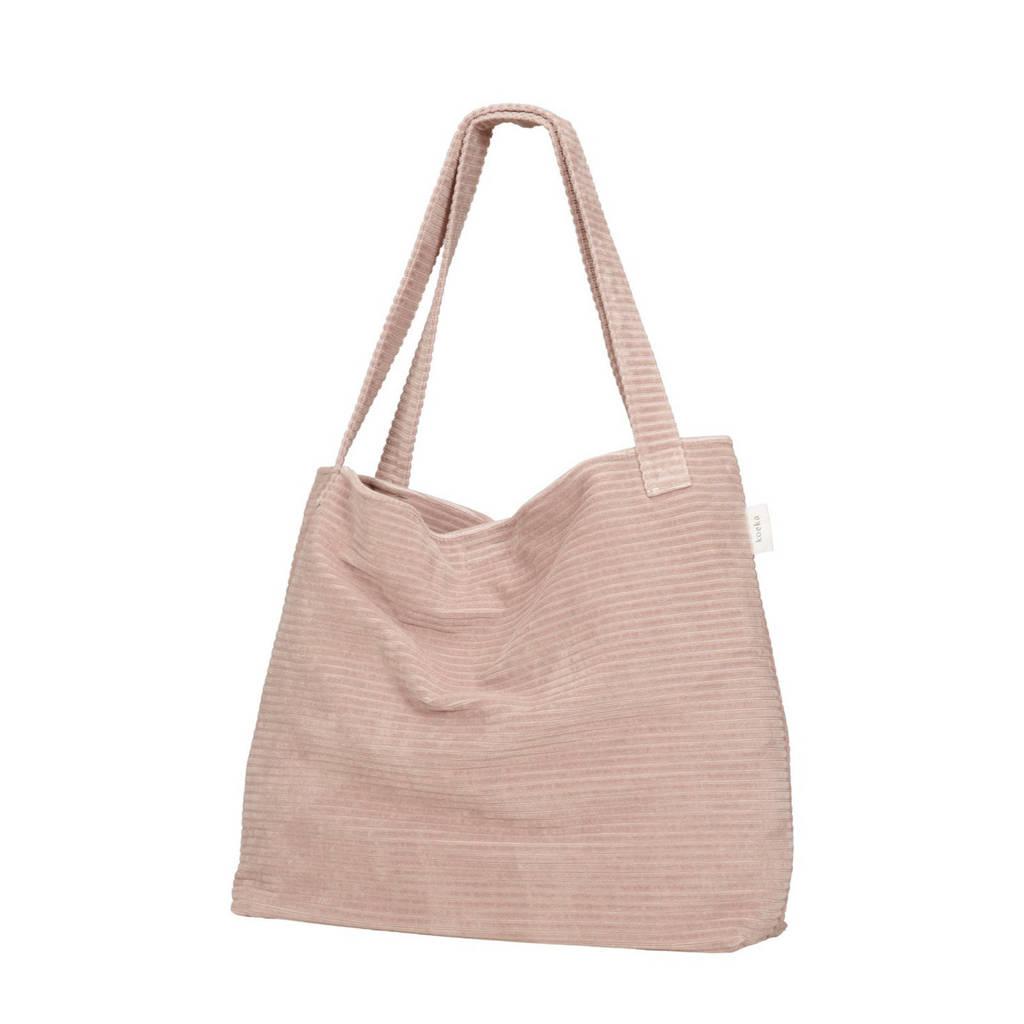 Koeka corduroy mom bag Vik grey pink, Oudroze