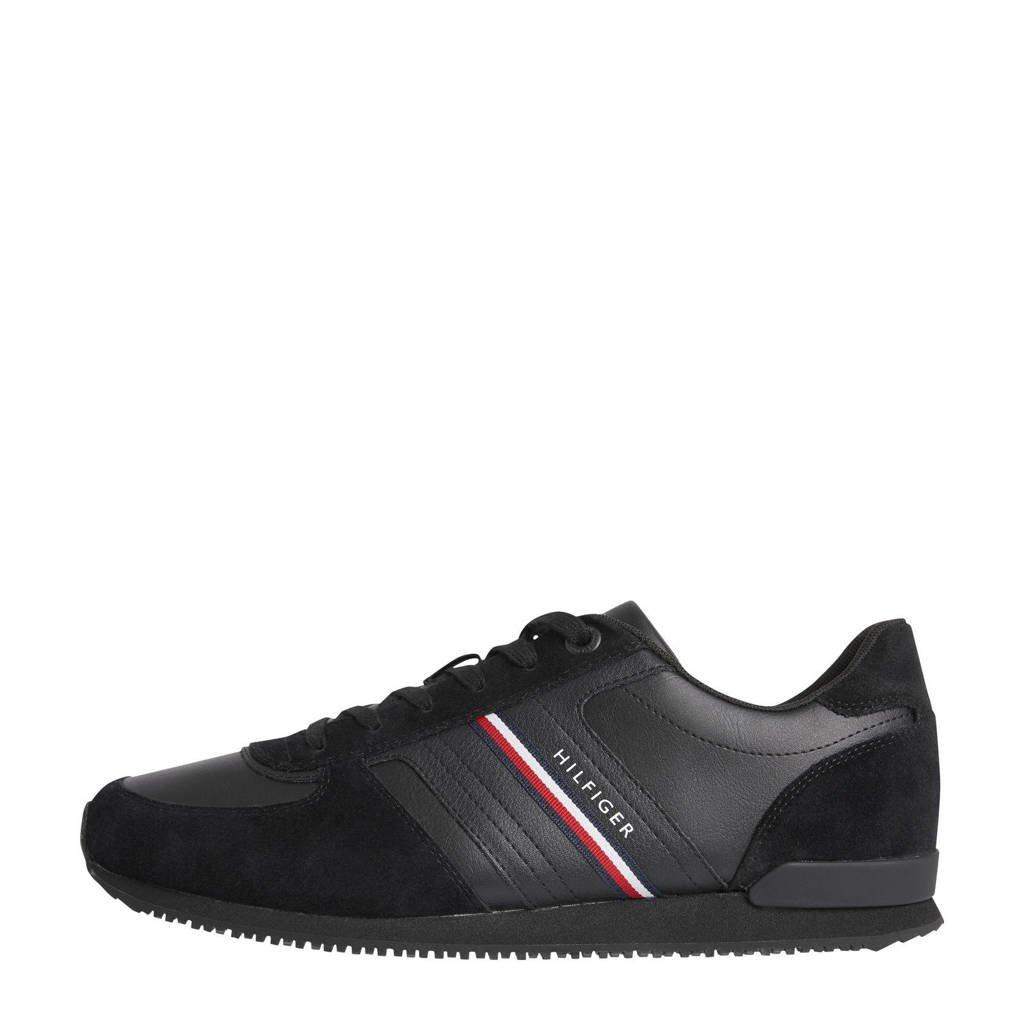 Tommy Hilfiger Maxwell  leren sneakers zwart, Zwart
