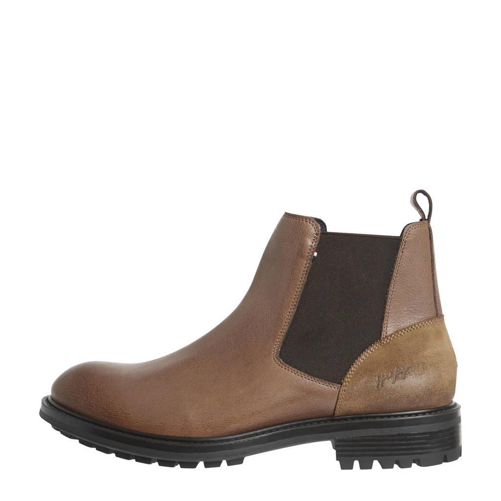 Tommy Hilfiger Raphael  leren chelsea boots bruin, Bruin