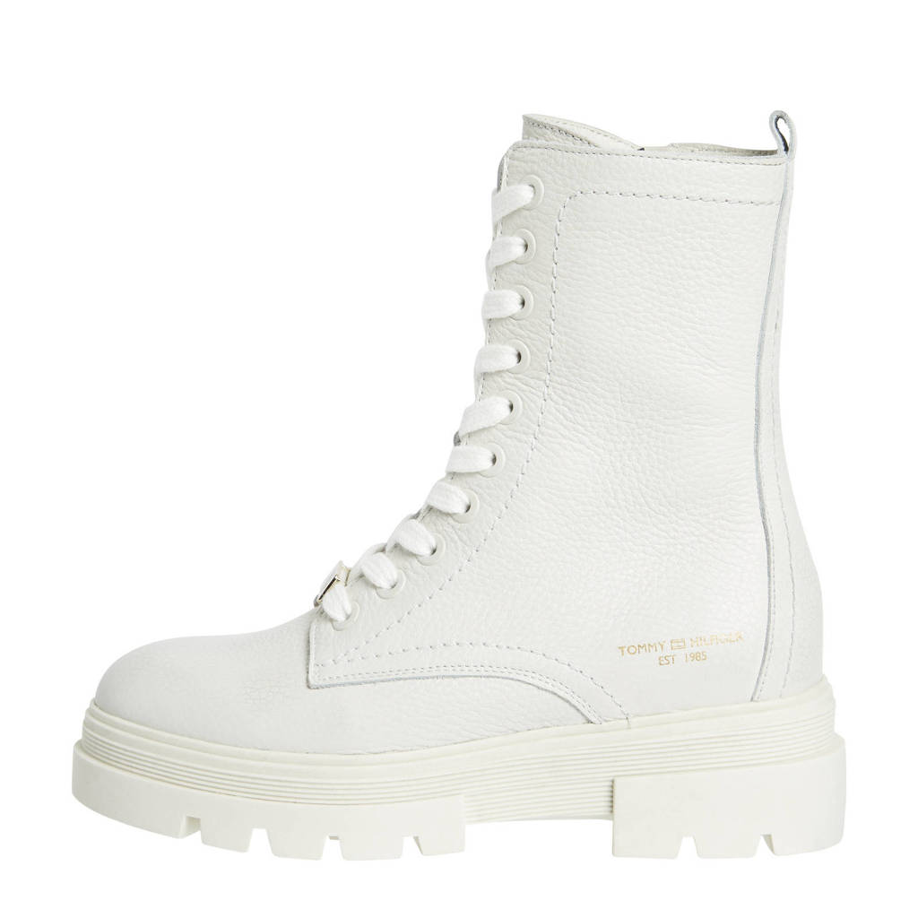 Tommy Hilfiger Laurie  leren veterboots off white, Wit/Off white
