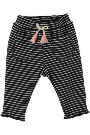 B.E.S.S baby gestreepte regular fit broek antraciet/wit