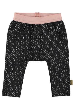 B.E.S.S baby slim fit broek met all over print zwart/wit/roze