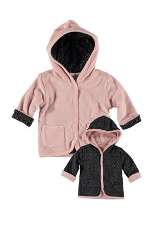 B.E.S.S baby reversible badstof vest roze/zwart.wit