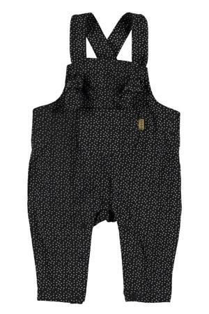 B.E.S.S baby regular fit tuinbroek met stippen zwart/wit