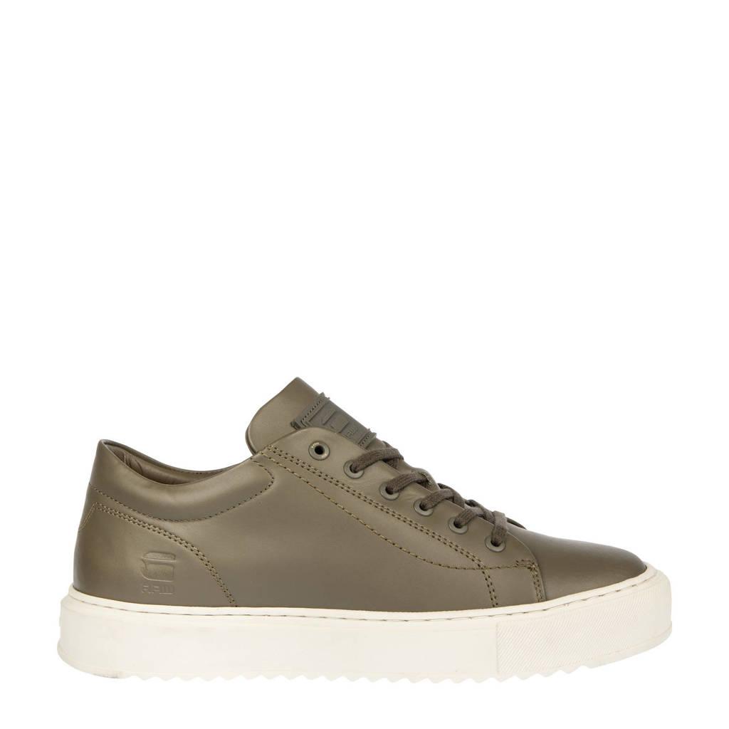 G-Star RAW ROCUP BSC M  leren sneakers olijfgroen, Olijfgroen