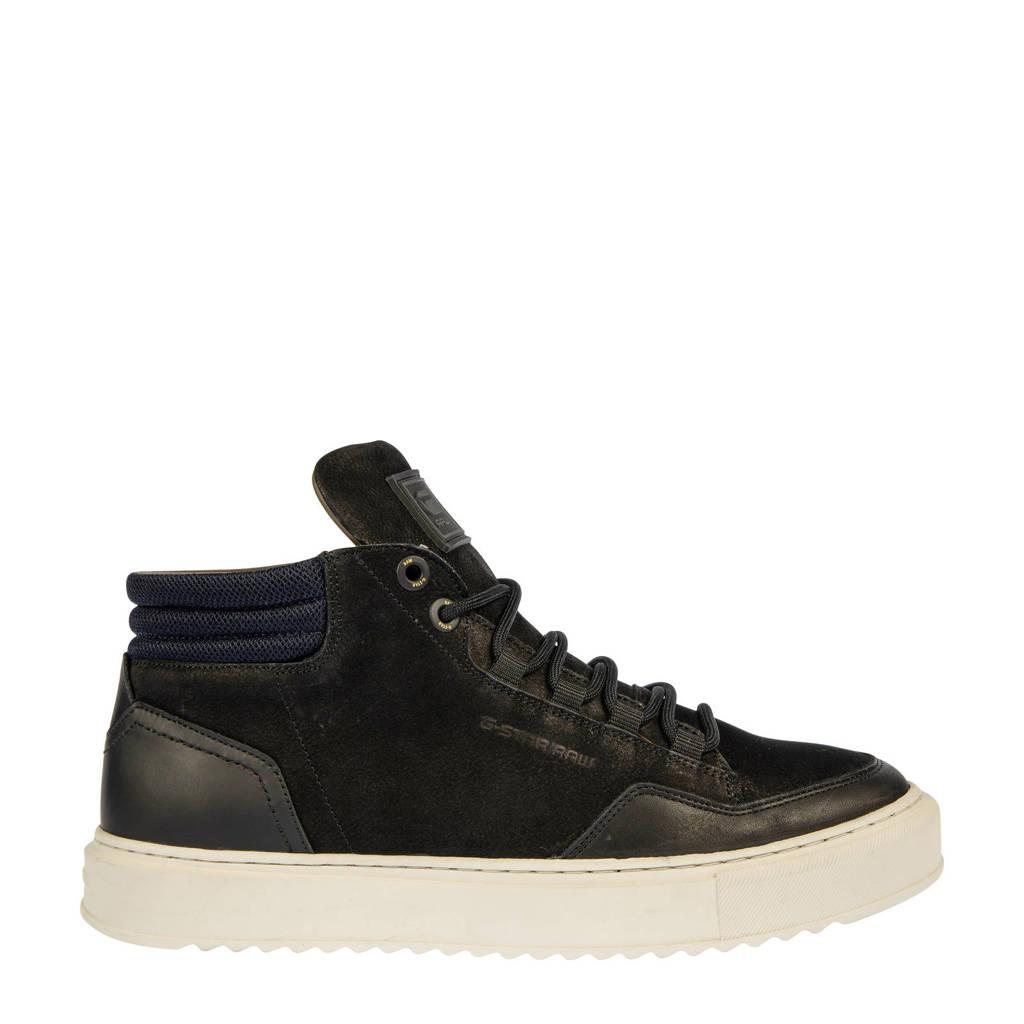 G-Star RAW RESISTOR MID BSC M  nubuck sneaker zwart, Zwart