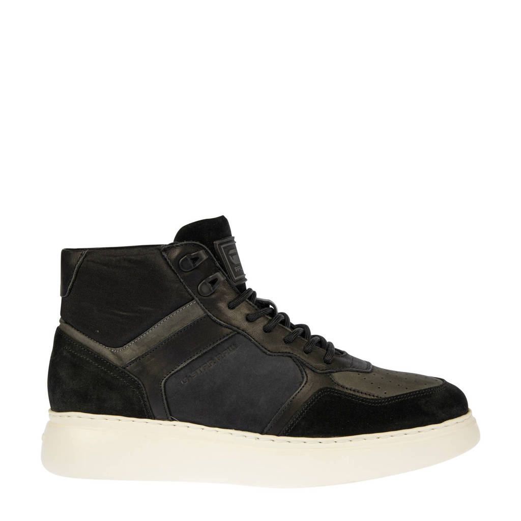 G-Star RAW LASH MID BLK M  leren sneaker zwart, Zwart