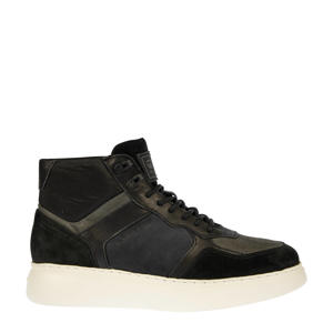 LASH MID BLK M  leren sneaker zwart