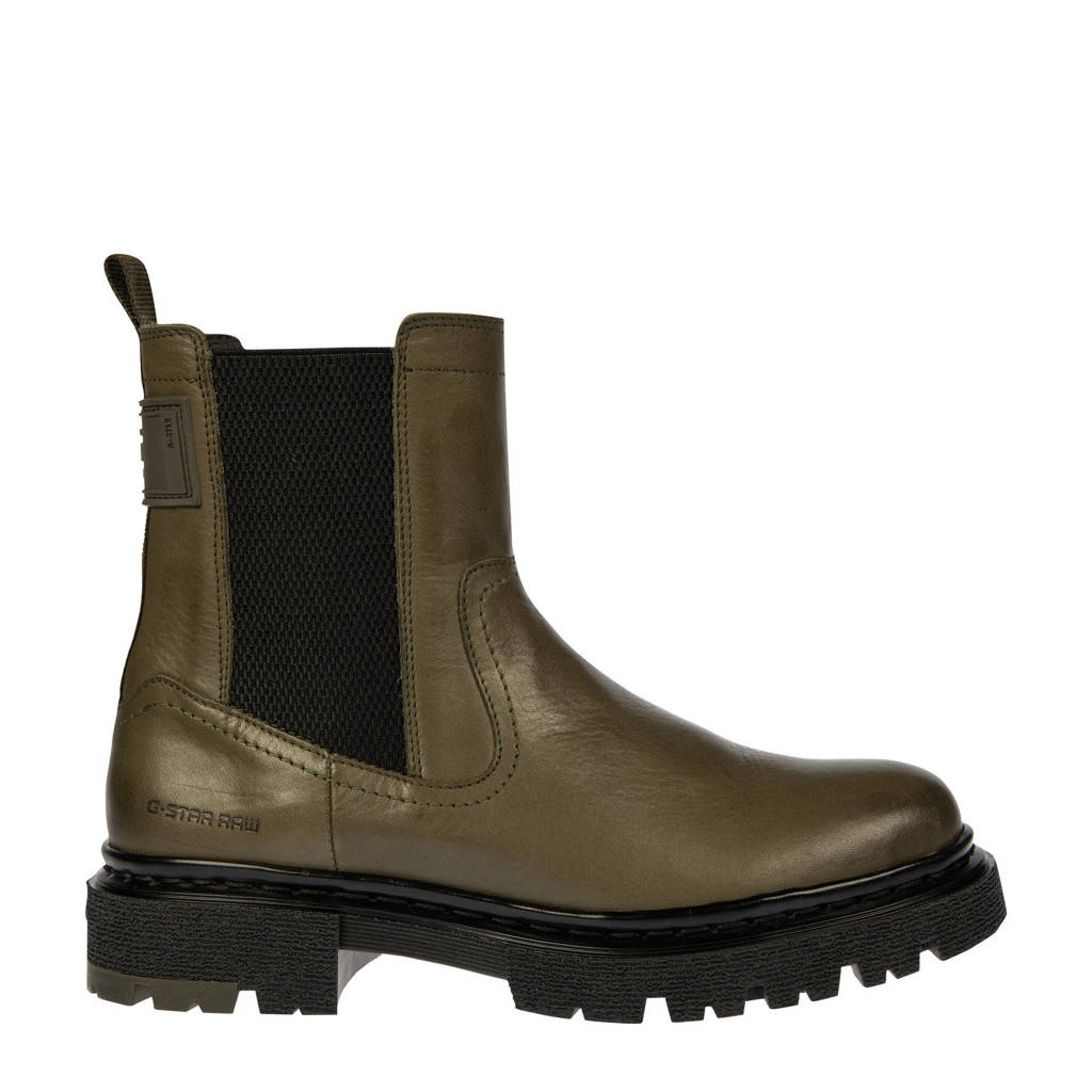 G-Star RAW KAFEY CHS LEA W  leren chelsea boots olijfgroen, Olijfgroen