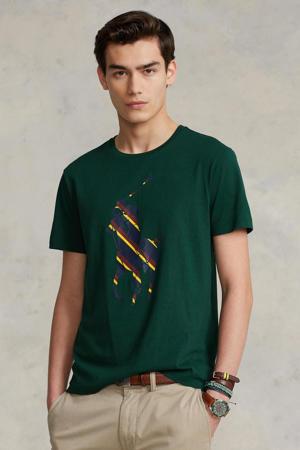 slim fit T-shirt met logo groen