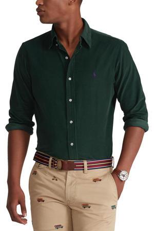 corduroy regular fit overhemd donkergroen