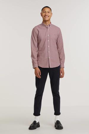 geruit regular fit overhemd rood/wit