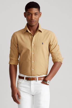 slim fit overhemd camel