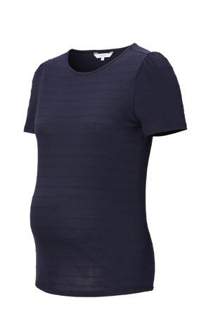 zwangerschapsT-shirt Gill met textuur donkerblauw