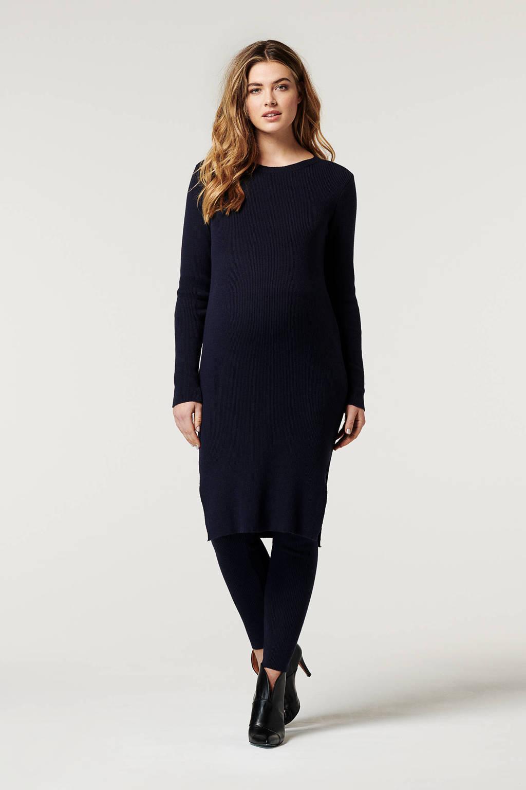 Noppies ribgebreide zwangerschapsjurk Galena donkerblauw, Donkerblauw