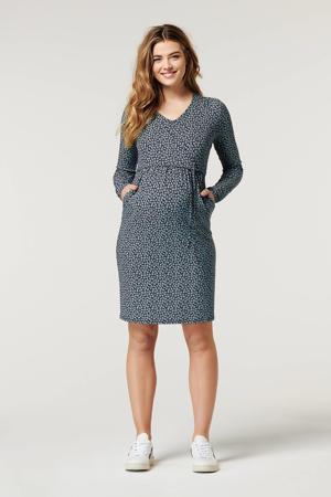 zwangerschapsjurk Garnet met all over print donkerblauw