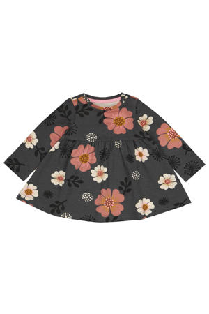 gebloemde A-lijn jurk donkergrijs/roze/wit