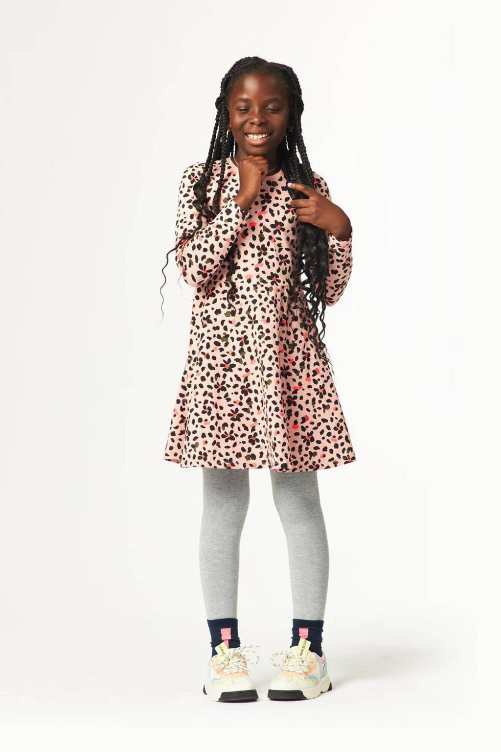 HEMA jurk Darieke met all over print roze/zwart/groen, Roze/zwart/groen