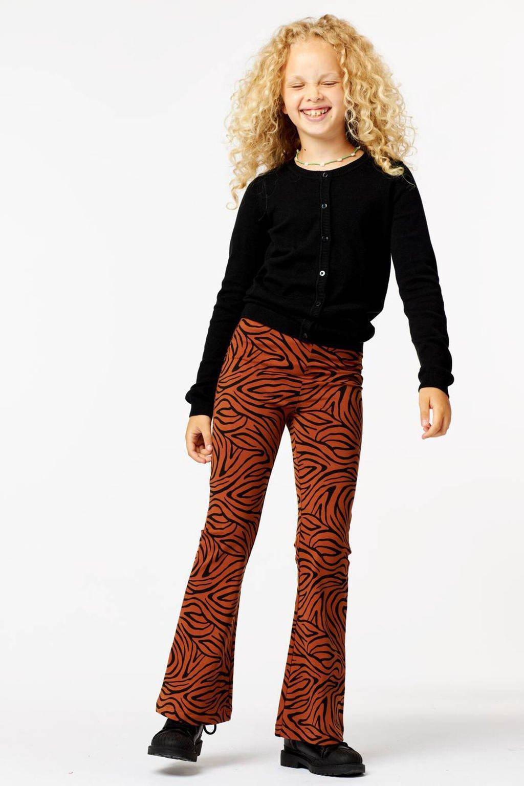 HEMA flared legging met all over print bruin/zwart, Bruin/zwart