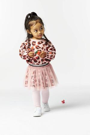 rok Kimberly met dierenprint en mesh roze/bruin/zwart