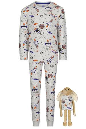 pyjama met all over print lichtgrijs